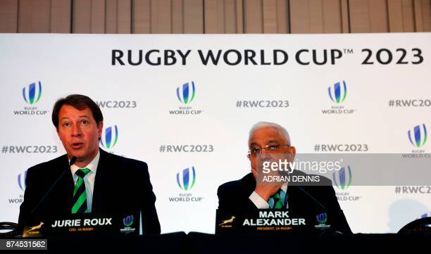 South Africa's bid team Chief Executive Jurie Roux and Mark Alexander President of SA Rugby hold a press conference after France was named to host...