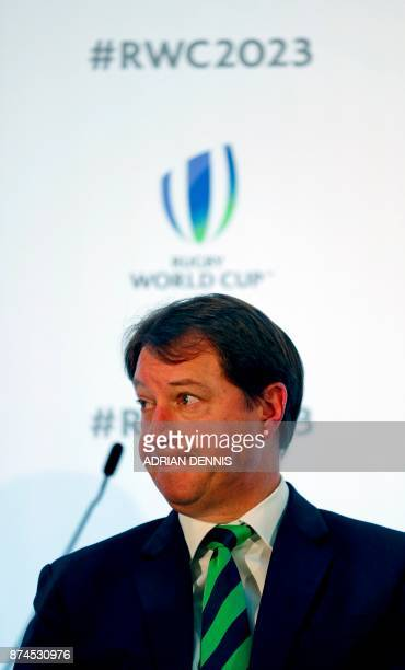 South Africa's bid team Chief Executive Jurie Roux gestures during a press conference after France is named to host the 2023 Rugby World Cup in...