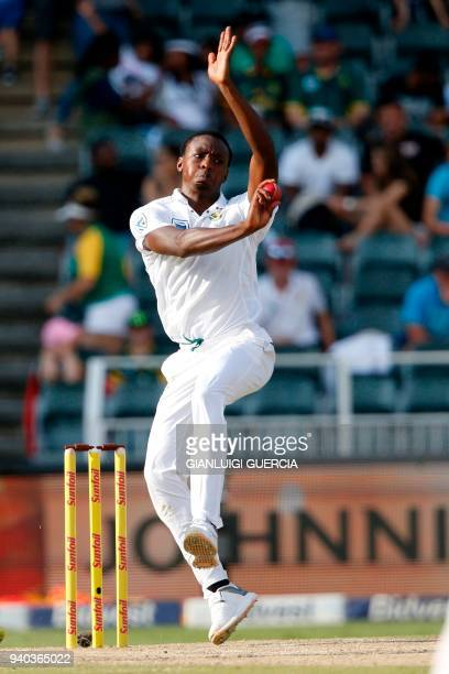 South Africa's bowler Kagiso Rabada bowls during the second day of the fourth Test cricket match between South Africa and Australia at Wanderers...
