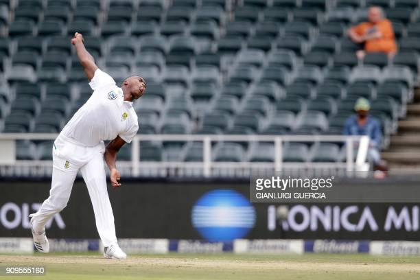 South Africa's bowler Lungi Ngidi bowls on Indian batsman Virat Kohli during the first day of the third test match between South Africa and India at...
