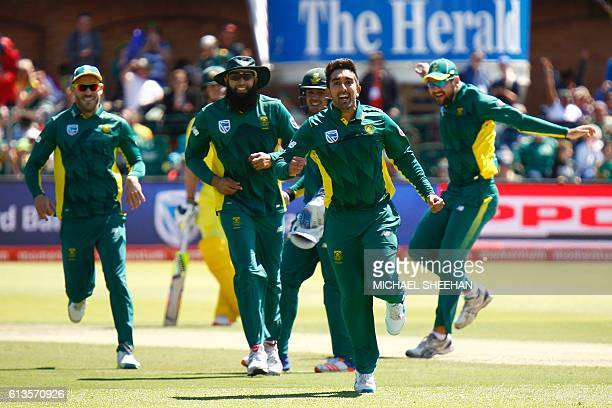 South Africa's bowler Tabraiz Shamsi celebrates after taking a wicket during the fourth One Day International between South Africa and Australia at...