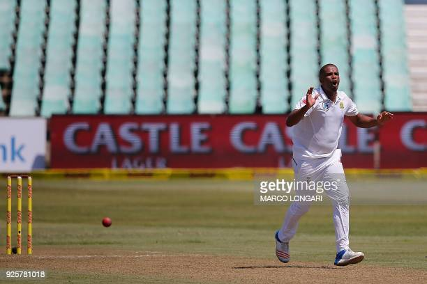 South Africa's bowler Vernon Philander reacts during day one of the first Sunfoil Test between South Africa and Australia at Kingsmead Stadium in...