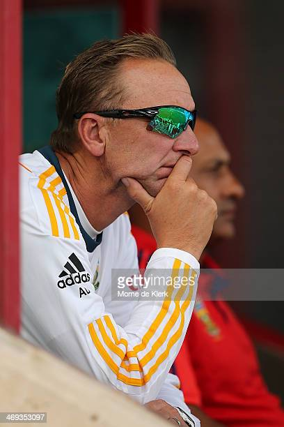 South Africa's bowling coach Allan Donald looks on during day three of the First Test match between South Africa and Australia on February 14 2014 in...