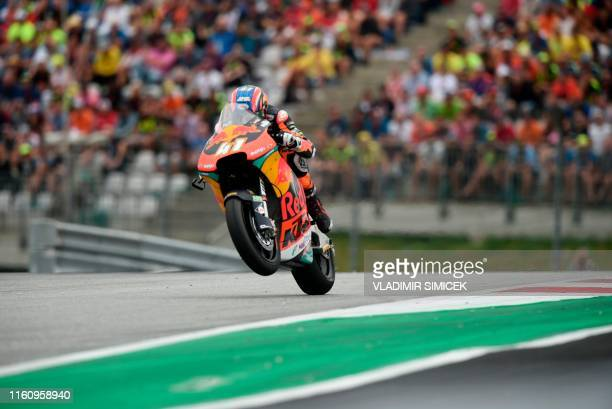 South Africa's Brad Binder from team Red Bull KTM Ajo rides his motorbike during the Moto2 race organised during the Austrian Moto GP Grand Prix in...