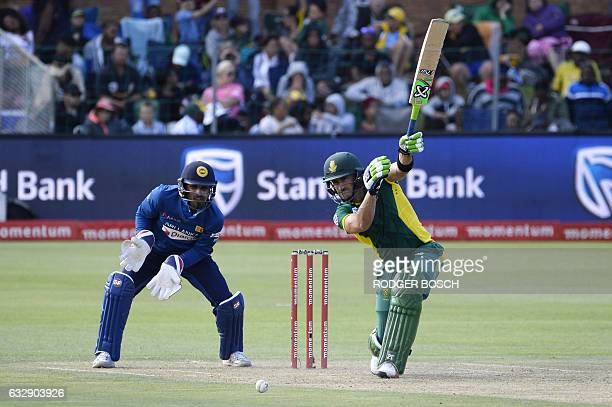 South Africa's captain AB de Villiers plays a shot during their One Day International cricket match against Sri Lanka at St George's Park on January...