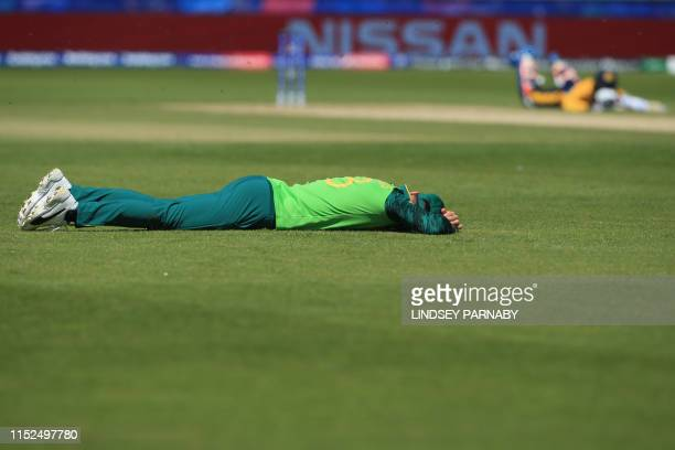 South Africa's captain Faf du Plessis lies on the field as bees swarm during the 2019 Cricket World Cup group stage match between Sri Lanka and South...