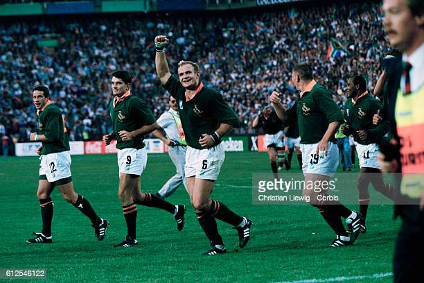South Africa's captain Francois Pienaar celebrates victory over New Zealand in the Rugby Union World Cup Final