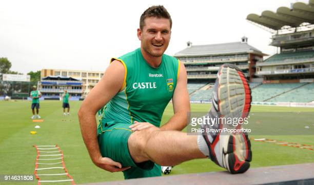 South Africa's captain Graeme Smith stretches during a training session before the 4th Test match between South Africa and England at the Wanderers...