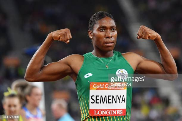 TOPSHOT South Africa's Caster Semenya celebrates winning the athletics women's 1500m final during the 2018 Gold Coast Commonwealth Games at the...