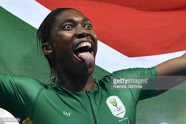 TOPSHOT South Africa's Caster Semenya celebrates winning the Women's 800m Final during the athletics event at the Rio 2016 Olympic Games at the...