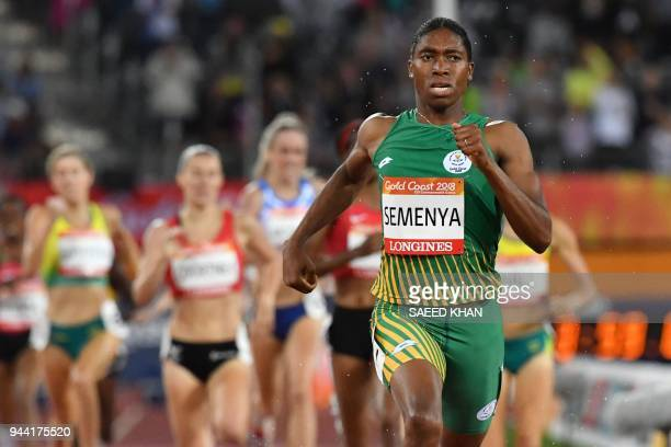 TOPSHOT South Africa's Caster Semenya competes in the athletics women's 1500m final during the 2018 Gold Coast Commonwealth Games at the Carrara...