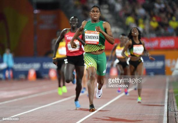 South Africa's Caster Semenya competes in the athletics women's 800m final during the 2018 Gold Coast Commonwealth Games at the Carrara Stadium on...