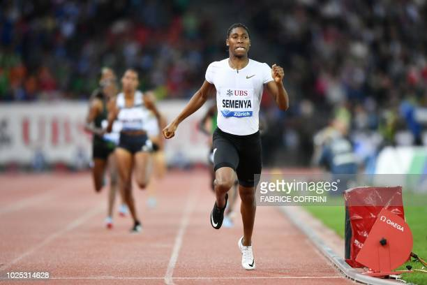 South Africa's Caster Semenya competes to win the women's 800 metres during the IAAF Diamond League Weltklasse athletics meeting at the Letzigrund...