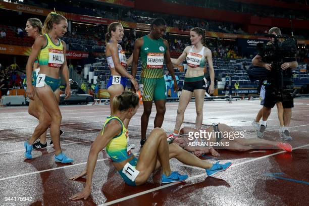 TOPSHOT South Africa's Caster Semenya is congratulated after winning the athletics women's 1500m final during the 2018 Gold Coast Commonwealth Games...