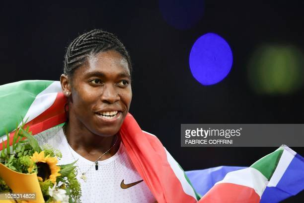 South Africa's Caster Semenya reacts after winning the women's 800 metres during the IAAF Diamond League Weltklasse athletics meeting at the...