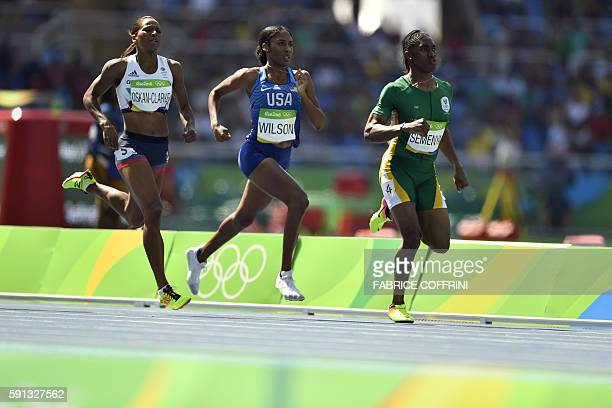 South Africa's Caster Semenya USA's Ajee Wilson and Britain's Shelayna OskanClarke compete in the Women's 800m Round 1 during the athletics event at...