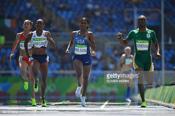 South Africa's Caster Semenya USA's Ajee Wilson Britain's Shelayna OskanClarke and China's Wang Chunyu compete in the Women's 800m Round 1 during the...