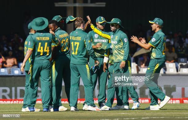 South Africa's celebrate a wicket during the ODI OneDay International match Bangladesh vs South Africa at the Buffalo Park Cricket Grounds in East...