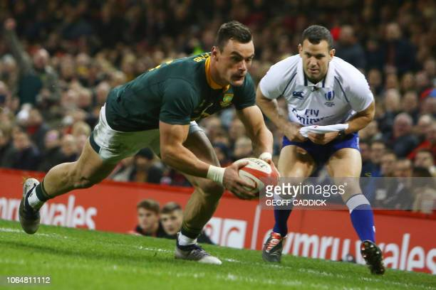 South Africa's centre Jesse Kriel scores a try during the autumn international rugby union test match between Wales and South Africa at the...