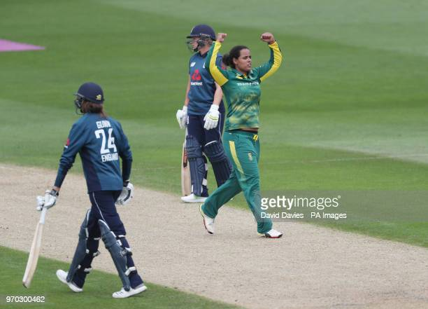 South Africa's Chloe Tryon celebrates taking the wicket of England's Jenny Gunn during the ICC Women's Championship match at Blackfinch New Road,...