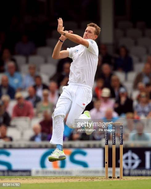 South Africa's Chris Morris bowling during day one of the 3rd Investec Test match at the Kia Oval London