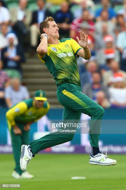 South Africa's Chris Morris bowls during the second international Twenty20 cricket match between England and South Africa at The Cooper Associates...