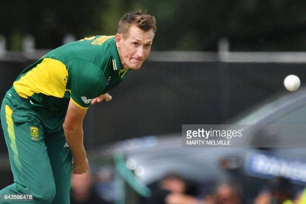 South Africa's Chris Morris bowls during the second oneday international cricket match between New Zealand and South Africa at the Hagley Park Oval...