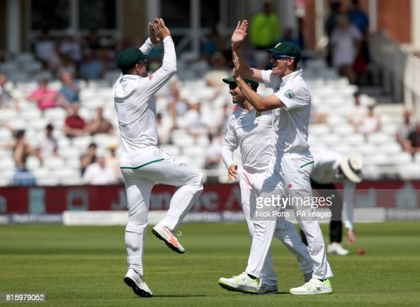 South Africa's Chris Morris celebrates catching out England's Jonny Bairstow during day four of the Second Investec Test match at Trent Bridge...