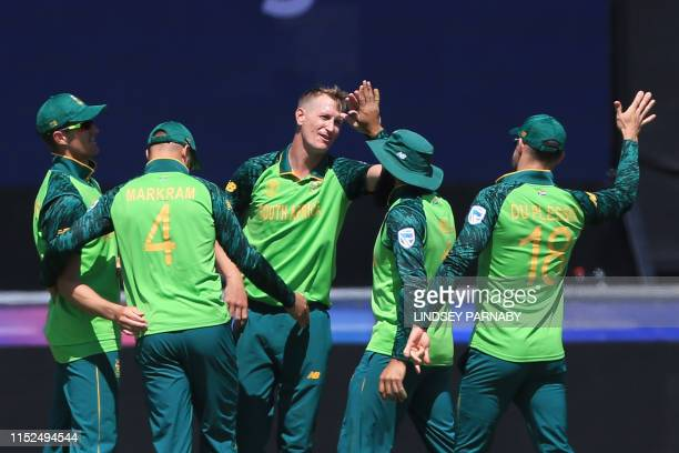 South Africa's Chris Morris celebrates with teammates after dismissing Sri Lanka's Jeevan Mendis for 18 during the 2019 Cricket World Cup group stage...
