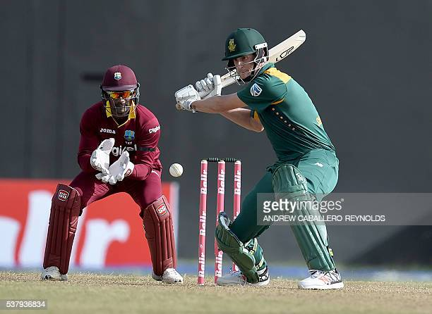 South Africa's Chris Morris plays a shot during the first Oneday International cricket match between the West Indies and South Africa in the...