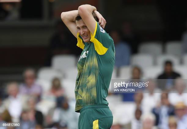 South Africa's Chris Morris reacts while bowling during the ICC Champions Trophy match between South Africa and India at The Oval in London on June...