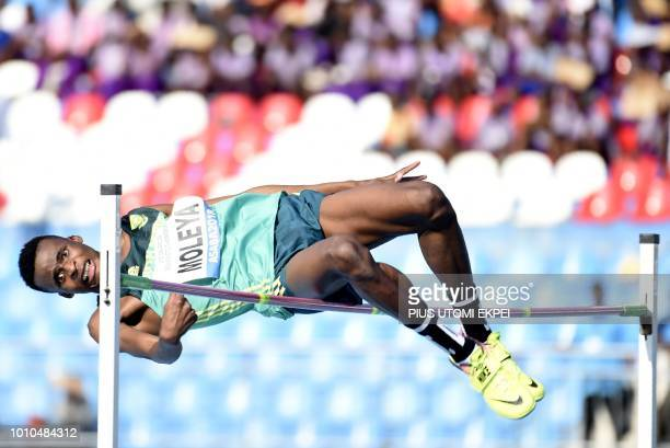 TOPSHOT South Africa's Christopher Moleya competes to win silver during the Men's long jump final at the African Senior Athletics Championship at...