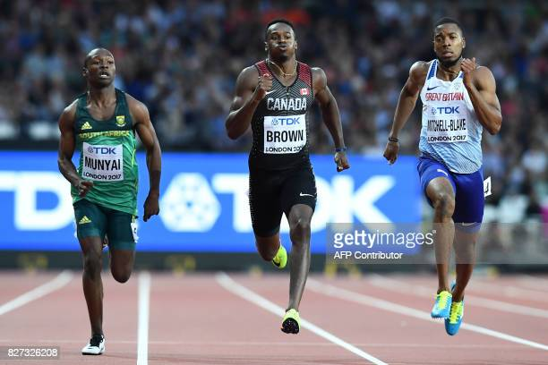 South Africa's Clarence Munyai Canada's Aaron Brown and Britain's Nethaneel MitchellBlake compete in the heats of the men's 200m athletics event at...