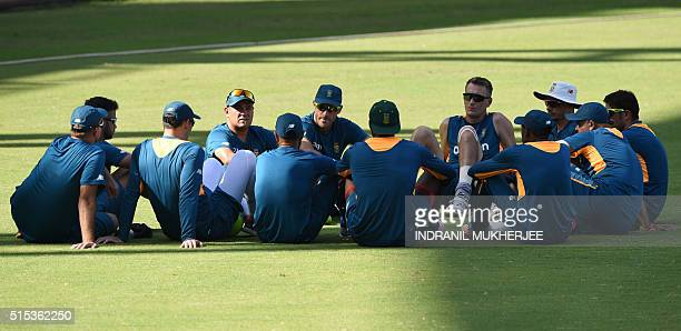 South Africa's coach Russell Domingo speaks to the team during a training session of the ongoing World T20 cricket tournament at the Wankhede stadium...