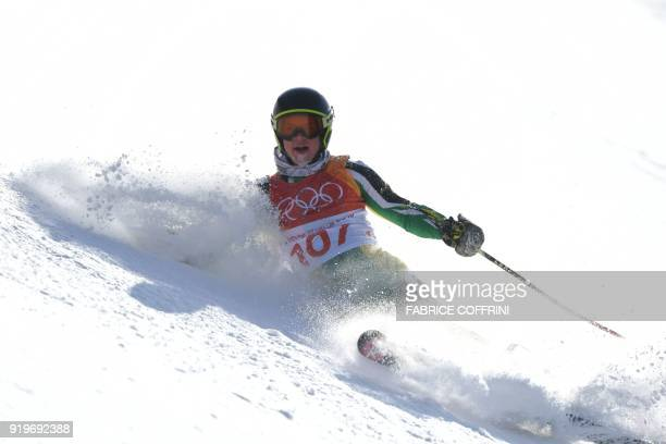 South Africa's Connor Wilson falls while competing in the Men's Giant Slalom at the Jeongseon Alpine Center during the Pyeongchang 2018 Winter...
