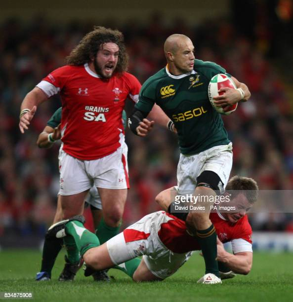 South Africa's Conrad Jantes is tackled by Wales' Matthew Rees during the Invesco Perpetual Autumn Series match at the Millennium Stadium Cardiff