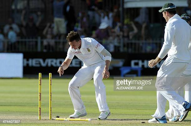 South Africa's cricketer Dale Steyn reacts after Australia's cricketer Brad Haddin has been clean bowled during the second test match between South...