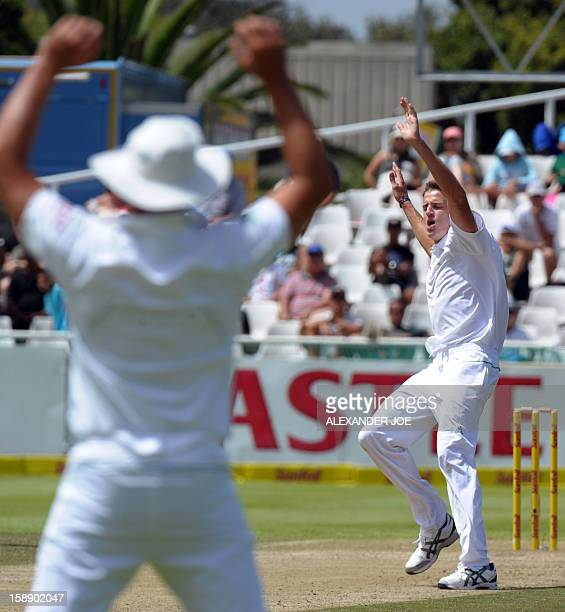 South Africa's cricketer Morne Morkel unsuccessfully appeals on New Zealand's batsman Kane Williamson during New zealand's second innings on day two...