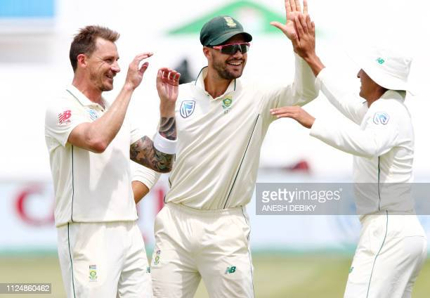 South Africa's Dale Steyn Aiden Markram and Zubayr Hamza celebrate the wicket of Sri Lanka's Kusal Perera during day 2 of the first test match...