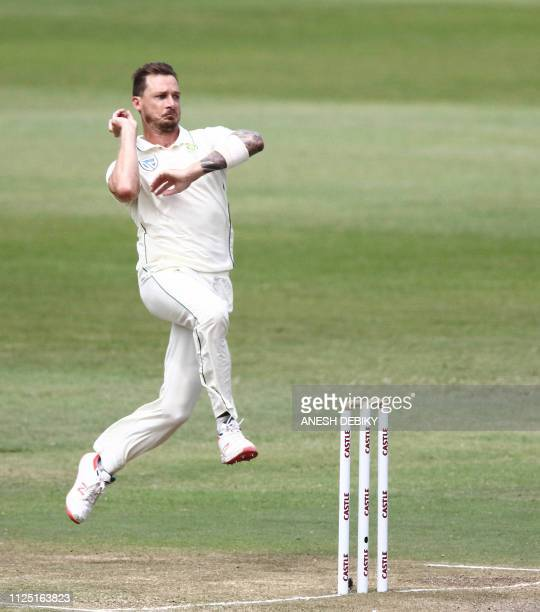 South Africa's Dale Steyn bowls during day 4 of the first test match between South Africa and Sri Lanka held at the Kingsmead Stadium in Durban on...