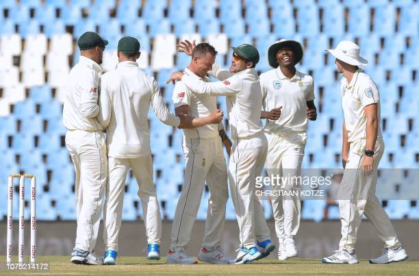 South Africa's Dale Steyn celebrates as he gets the wicket of Pakistan's Asad Shafiq on day two of the cricket test match between South Africa and...