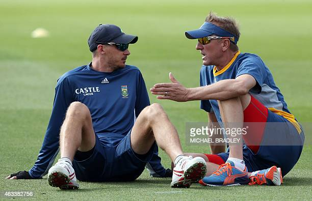 South Africa's Dale Steyn takes to bowling coach Allan Donald talk during training at Seddon Park Hamilton on February 14 2015 ahead of their first...