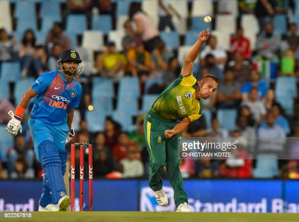 South Africa's Dane Paterson bowls during the second T20I cricket match between South Africa and India at Super Sport Park Stadium in Pretoria on...