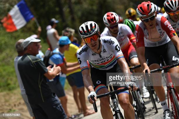 South Africa's Daryl Impey and Belgium's Tiesj Benoot ride in a breakaway during the ninth stage of the 106th edition of the Tour de France cycling...