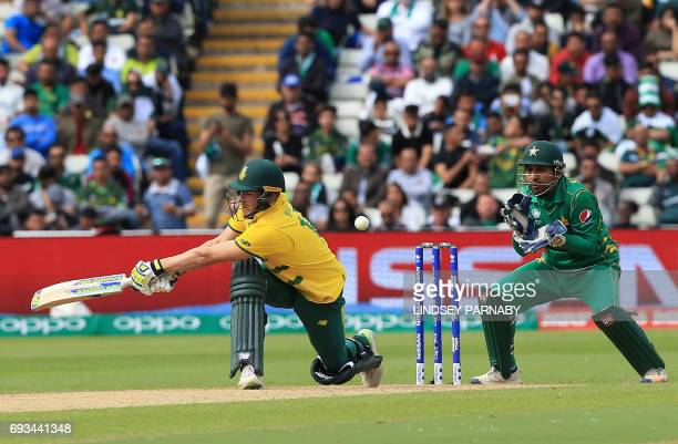 South Africa's David Miller bats during the ICC Champions trophy match between Pakistan and South Africa at Edgbaston in Birmingham on June 7 2017 /...