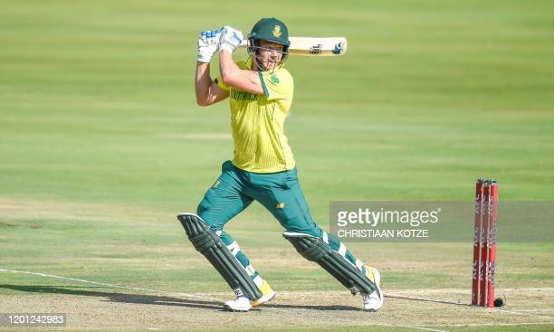 South Africa's David Miller plays a shot during the third and final Twenty20 international cricket match between South Africa and England at the...