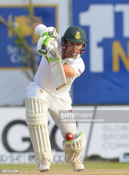 South Africa's Dean Elgar plays a shot during the first day of the opening Test match between Sri Lanka and South Africa at the Galle International...
