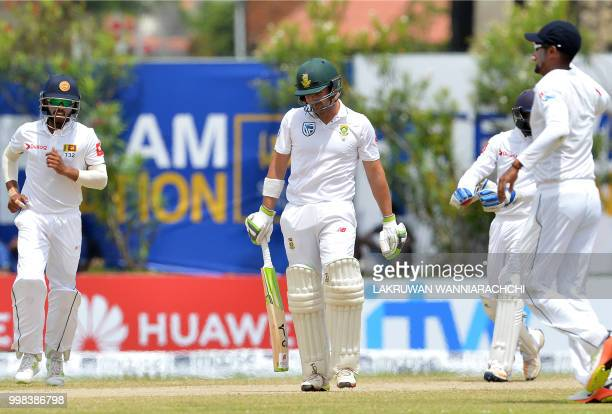 South Africa's Dean Elgar reacts after being dismissed during the third day of the opening Test match between Sri Lanka and South Africa at the Galle...