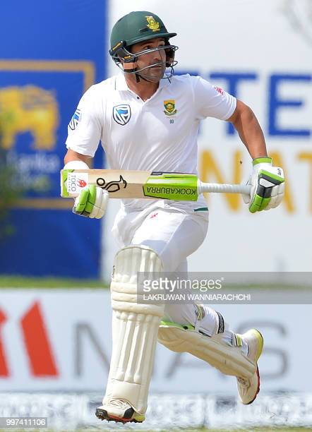 South Africa's Dean Elgar runs between the wickets during the second day of the opening Test match between Sri Lanka and South Africa at the Galle...