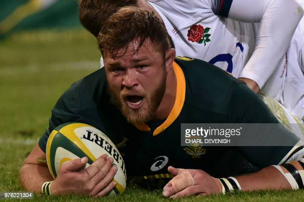 South Africas Duane Vermeulen scores a try during the second test match South Africa vs England at the Free State Stadium in Bloemfontein on June 16...